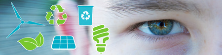 passion  ecology: Ecologic eye of boy with green and blue icons