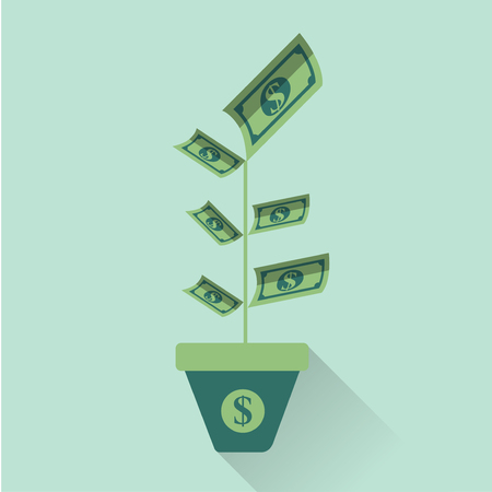 Flat design vector icon business illustration concept. Money deposit growth as flowers and leaf of plant.