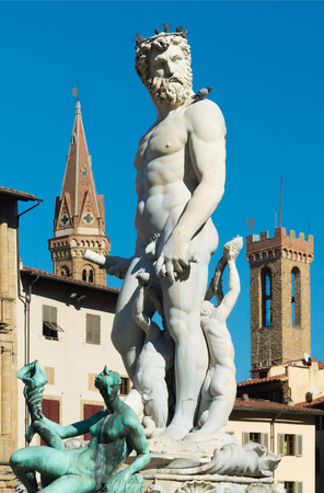 The Fountain of Neptune by Bartolomeo Ammannati. Situated on the Piazza della Signoria in front of the Palazzo Vecchio. Florence, Tuscany, Italy.