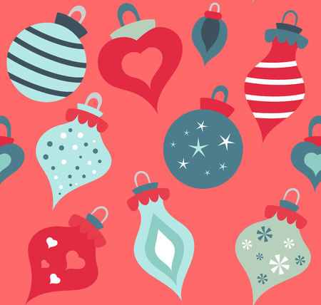 Christmas balls vector colorful seamless pattern