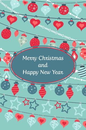 Vector colorful greetings cards for Merry Christmas with balls, tree, garlands, text for print and web