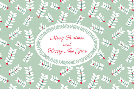 Vector colorful greetings cards for Merry Christmas with flower, tree, garlands, text for print and web