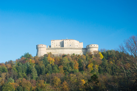 San Leo historic castle in Romagna countryside travel Italy in autumn
