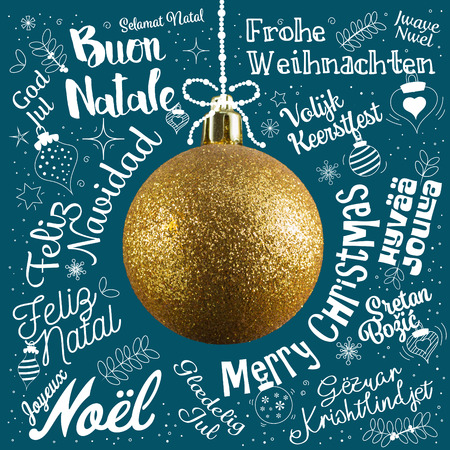 Merry Christmas greetings card from world in different languages with golden ball tree, calligraphic text and font handwritten lettering Stock Photo