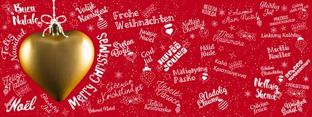 Feliz Navidad bandera saludos web desde el mundo en diferentes idiomas con corazón de oro, texto caligráfico y las letras escritas a mano de la fuente