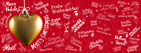 Merry Christmas greetings web banner from world in different languages with golden heart, calligraphic text and font handwritten lettering