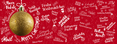 Merry Christmas greetings web banner from world in different languages with golden ball tree, calligraphic text and font handwritten lettering Stock Photo