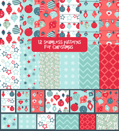 Set of seamless colorful bright and fun Christmas Winter Holidays patterns Illustration