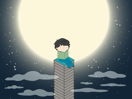 Cartoon boy reading on a stack of books near the moon in dark night with many stars vector illustration