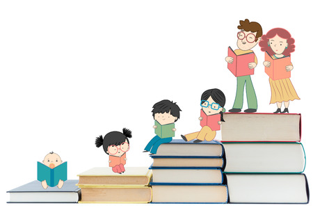 young culture: Boys and girls reading books for children education and young culture growth illustration