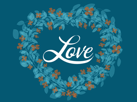 Floral heart wreath created with vector watercolor brushes. Invitation greetings card for love and romance events. Illustration