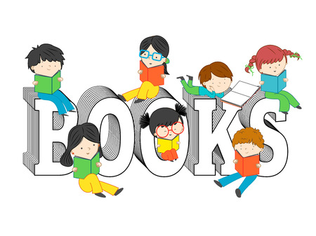 Children and kids reading and sitting on books text vector illustration isolated on white background Illustration