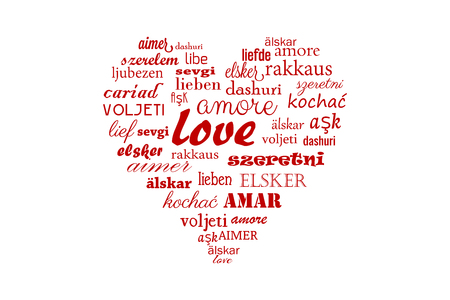 Vector love heart with calligraphic words in all languages ??for Happy Valentine in all the world isolated on white background Illustration