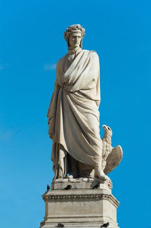 Dante Alighieris statue in Florence Italy - closeup Stock Photo