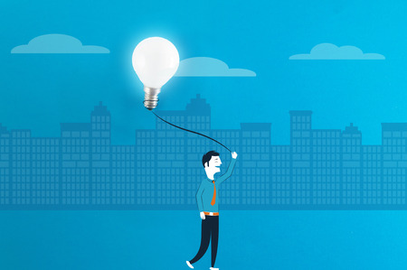 Happy business man walking in city with good idea - conceptual illustration