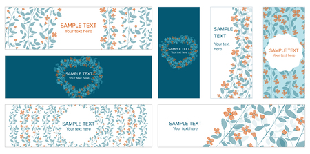 Abstract vector set of web banner templates with floral background for headers of websites, labels and advertising on social media. Illustration