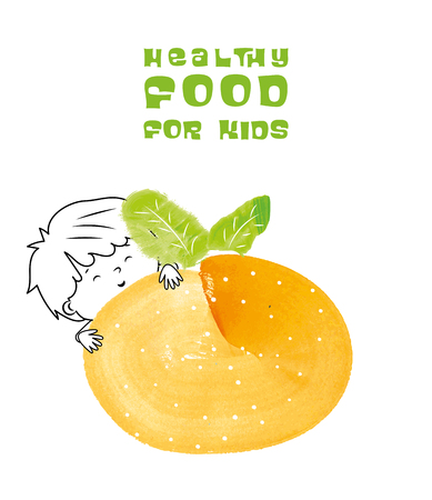 Healthy food for kids vector illustration. Fun and happy child with tangerine created with watercolor brush. Illustration