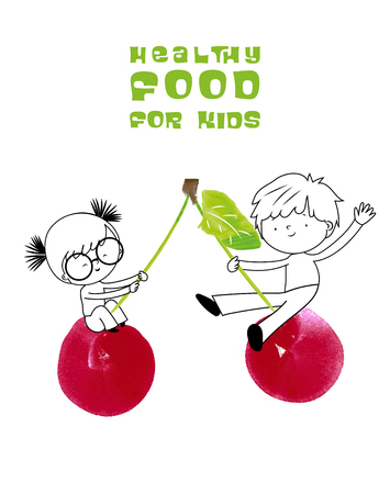 Healthy food for kids vector illustration. Fun and happy children playing and swinging on seesaw cherry created with watercolor brush.