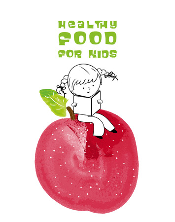 Healthy food for kids vector illustration. Fun and happy children reading on red apple created with watercolor brush.