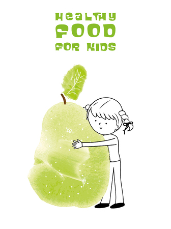 natures: Healthy food for kids vector illustration. Fun and happy child with pear created with watercolor brush. Illustration