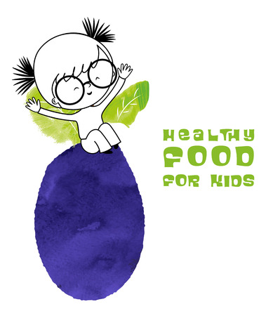 Healthy food for kids vector illustration. Fun and happy child with plum created with watercolor brush. Illustration