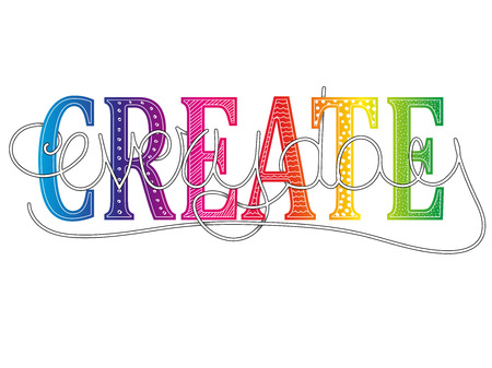 Create everyday conceptual motivational message with colorful text handwritten lettering vector