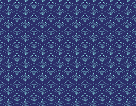 Geometric colorful seamless pattern vector for background and texture with azure flower on blu