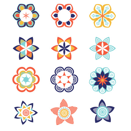 Geometric colorful logo and icon template set. Vector ornamental symbols, flowers and mandalas. Illustration
