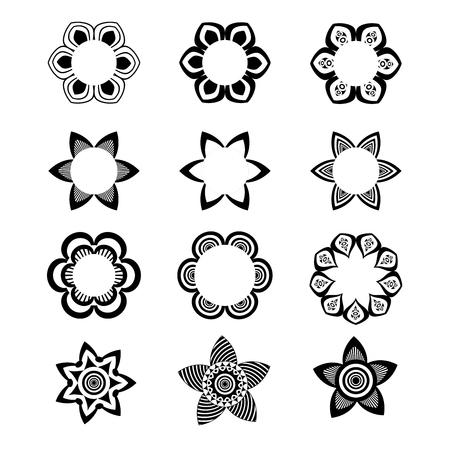 Geometric monochromatic logo and icon template set. Vector ornamental symbols, flowers and mandalas.