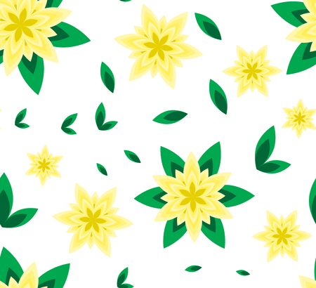 Seamless vector pattern yellow flower with green leaf and geometric flower on white background