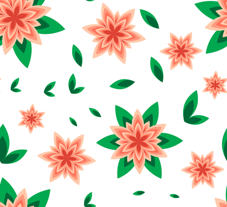 Seamless vector pattern flower peach with green leaf and geometric flower on white background