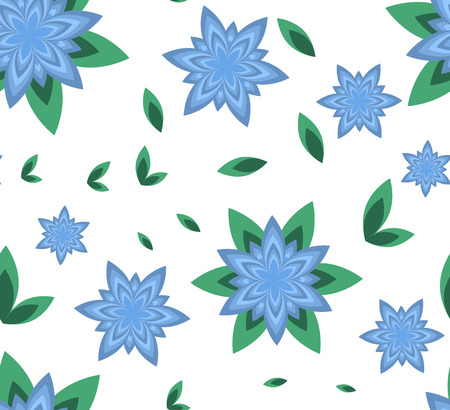 Seamless vector pattern azure flower with green leaf and geometric flower on white background Illustration