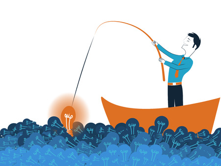 Business man fishing a good idea in sea of light bulb vector illustration isolated on white background