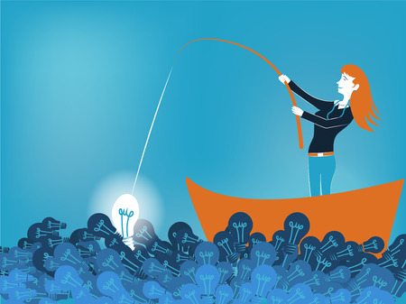 Business woman fishing a good idea in sea of light bulb vector illustration