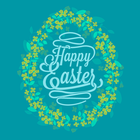 Happy Easter greetings card calligraphic lettering with egg and floral wreath created by watercolor brush in blue- vector illustration
