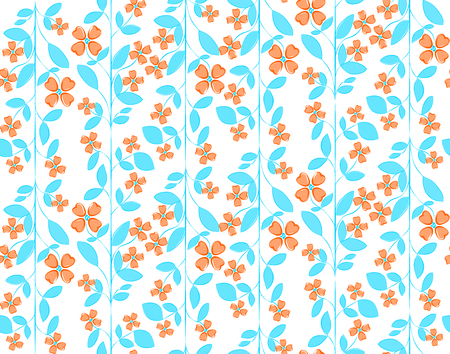 Floral colorful seamless vector pattern with orange peach flowers and azure leafs on white background