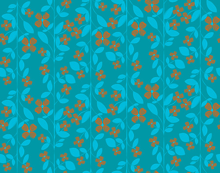 Floral colorful seamless vector pattern with orange peach flowers and leafs on azure blue background Illustration