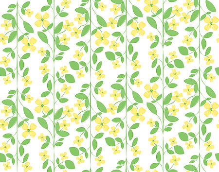 Floral colorful seamless vector pattern with yellow flowers and green leafs on white background Illustration
