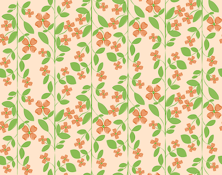 Floral colorful seamless vector pattern with orange peach flowers and green leafs on pastel background