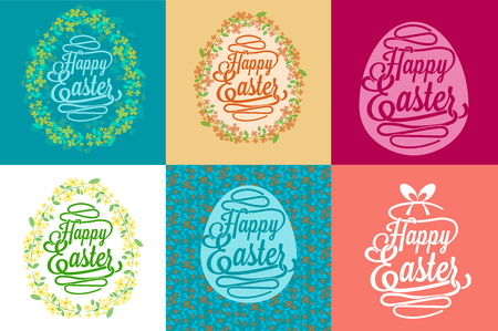 Happy Easter greetings card calligraphic lettering with egg and floral wreath created by watercolor brush - vector illustration Illustration