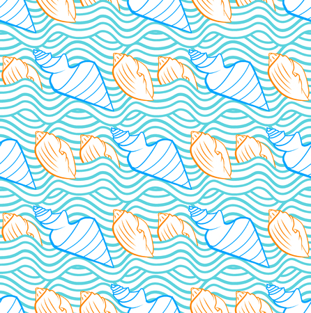 Summer vector seamless pattern with orange, blue and azure sea waves and seashells hand drawn