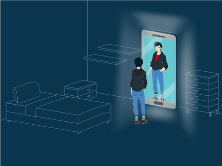 Young boy reflected in the mirror smartphone alone in his room - Vector conceptual illustration of social addiction for teenagers