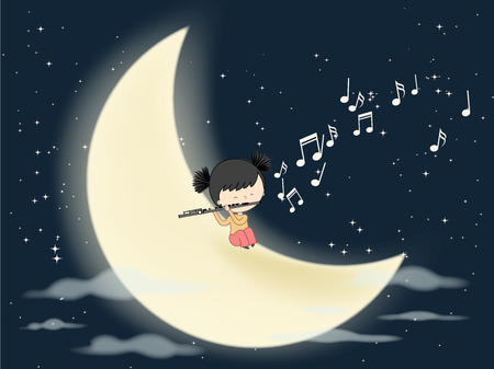 Flautist playing on the moon in night with many stars - Love and passion for music vector illustration. Illustration