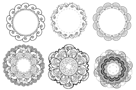 Vector Summer mandalas and wreath for logo, icon and decoration collection. Illustration