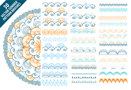 Summer vector pattern brushes with hand drawn colorful seashells and waves set.