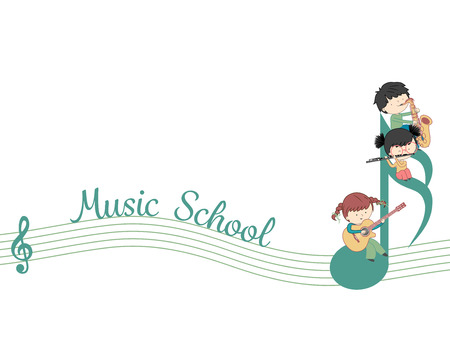 Music school web banner vector template with kids and many instrument