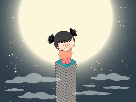 Cartoon girl reading on a stack of books near the moon in dark night with many stars vector illustration Illustration
