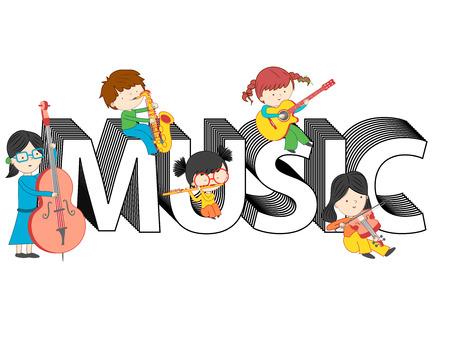 Kinder spielen und sitzen auf Musik Text Vektor-Illustration isoliert auf weißem Hintergrund