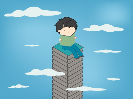 Child reading a book sitting on stack of books up to sky for kids culture growth - Vector illustration