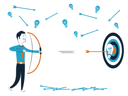 Hombre de negocios con flecha y flecha que golpea el objetivo con buena idea ilustración vectorial aislado en fondo blanco
